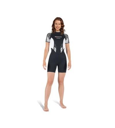 Combinaison shorty femme pour eau tiède Mares Reef She Dives épaisseur 2.5mm à fermeture dorsale pour la plongée et snorkeling