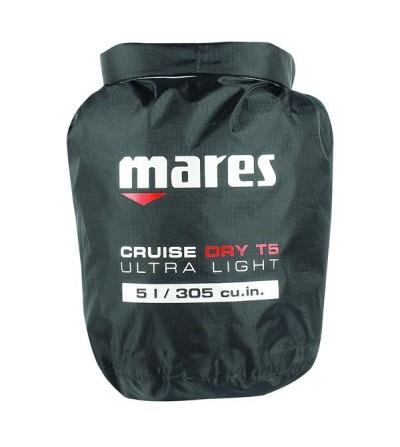 Sac entièrement étanche Mares Dry BAG T-Light 5 litres en polyester noir renforcé, couture thermosoudé & fermeture rapide