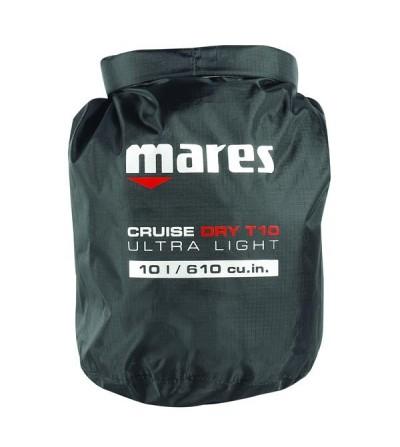 Sac entièrement étanche Mares Dry BAG T-Light 10 litres en polyester noir renforcé, couture thermosoudé & fermeture rapide