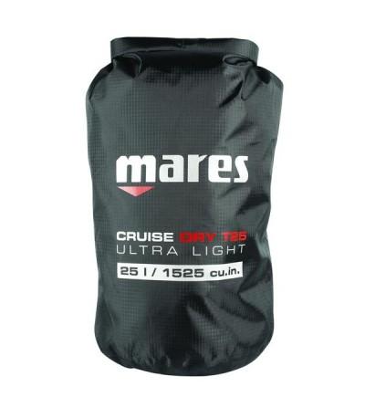 Sac entièrement étanche Mares Dry BAG T-Light 25 litres en polyester noir renforcé, couture thermosoudé & fermeture rapide