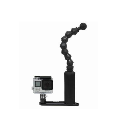 Platine de fixation en aluminium anodisé noir à un bras flexible pour éclairage bigblue et caméra compatible Go Pro