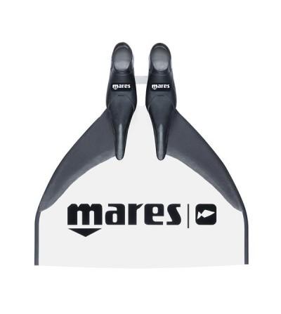 Monopalme d'apnée Mares Race blanche avec voilure fibre de verre à flexion parabolique pour la compétition