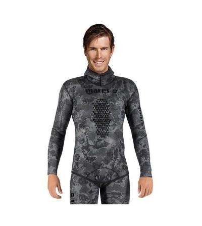 Veste de combinaison Explorer Camo Black en néoprène refendu 7mm Mares Pure Instinct pour la chasse sous-marine & l'apnée