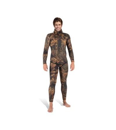 Veste de combinaison Illusion Camo Marron en néoprène refendu 3mm Mares Pure Instinct pour la chasse sous-marine & l'apnée
