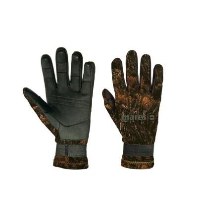 Gants Mares Pure Instinct très souples en néoprène 2mm camo illusion marron avec renforts Amara paume & doigts pour chasse sous-