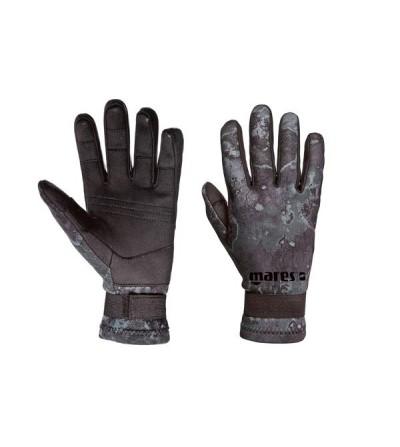 Gants Mares Pure Instinct très souples en néoprène 2mm camo noir avec renforts Amara paume & doigts pour chasse sous-