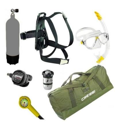 Pack de plongée d'urgence pour la plaisance avec bloc 5 litres, harnais, manomètre, détendeur, masque et tuba, sac jungle