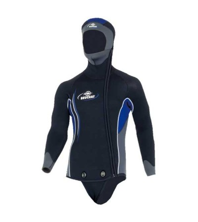 Veste Haut de combinaison de plongée humide homme Beuchat Sormiou en néoprène 5mm avec cagoule & fermeture zip intégral