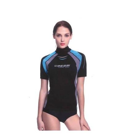 Rash Guard Cressi Thermo Guard à manches courtes en nylon avec protection en spandex 0.5mm sur le torse - Modèle Femme