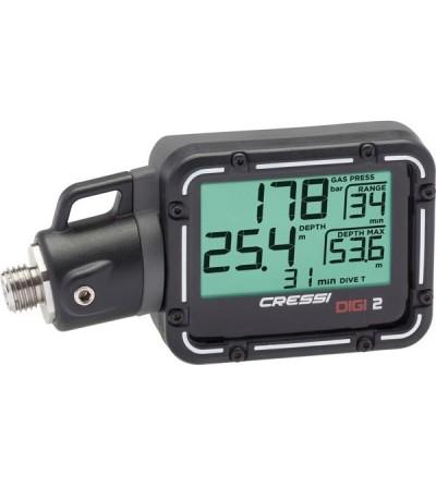 Console instrument numérique Digi 2 Cressi équipée d'un profondimètre et d'un manomètre, température & autonomie restante
