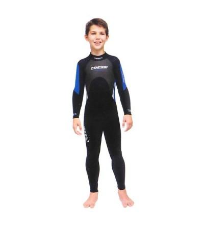 Combinaison humide monopièce de plongée, apnée et snorkeling Cressi Morea en néoprène 3mm - Pour eaux chaudes- Modèle enfant