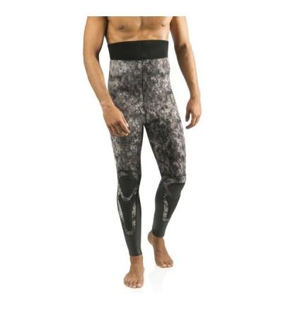 Pantalon de combinaison Cressi Corvina en néoprène refendu 7mm pour la chasse sous-marine & l'apnée - Camouflage noir gris