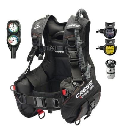 Pack avec gilet stab de plongée Cressi Start Pro, pack détendeur AC2 XS Compact et console avec manomètre et profondimètre