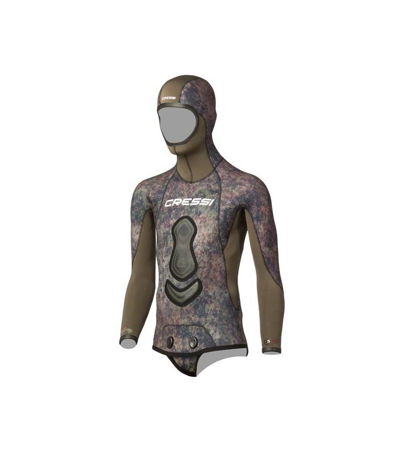 Veste haut de combinaison Cressi Seppia en néoprène refendu 7mm camouflage vert marron pour la chasse sous-marine & l'apnée