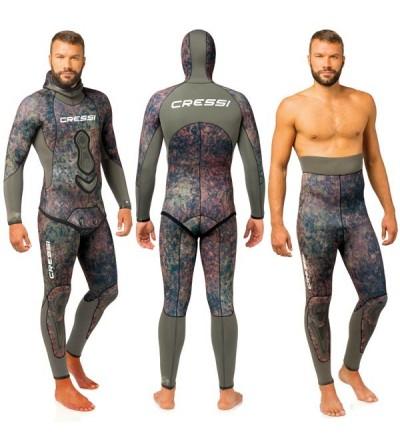 Veste haut de combinaison Cressi Seppia en néoprène refendu 5mm camouflage vert marron pour la chasse sous-marine & l'apnée