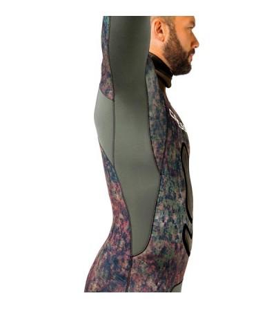 Veste haut de combinaison Cressi Seppia en néoprène metallite 3.5mm camouflage vert marron pour la chasse sous-marine & l'apnée