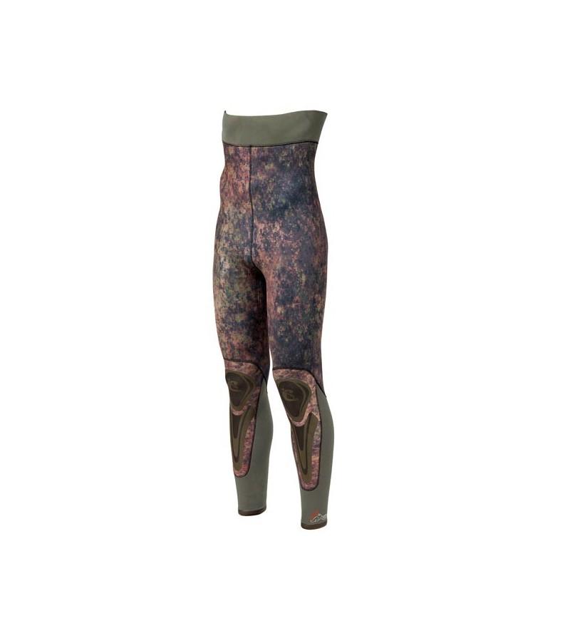 Pantalon de combinaison Cressi Seppia en néoprène metallite 3.5mm camouflage vert marron pour la chasse sous-marine & l'apnée