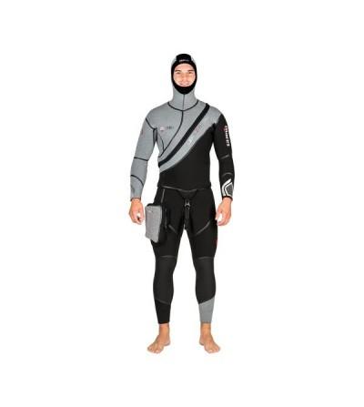 Combinaison homme semi-étanche de plongée Mares Flexa Z-Therm en néoprène extensible 7mm avec zip frontal en diagonale