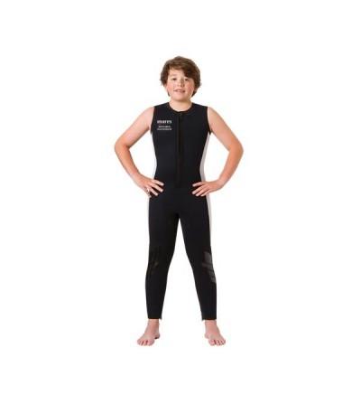 Pantalon type salopette de combinaison junior peut être porté seul ou avec la veste à cagoule Mares Scuba Ranger