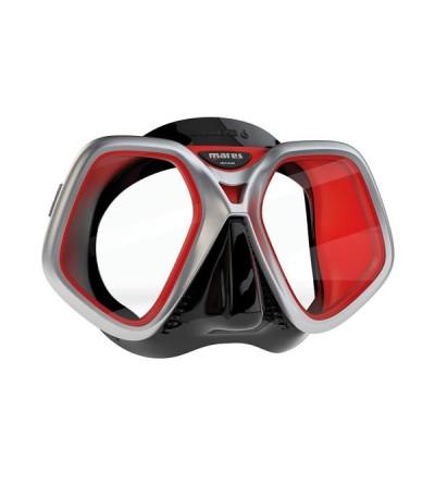Masque deux verres Mares Chroma avec jupe en silicone Liquidskin et cerclage chromé mat pour la plongée & le snorkeling