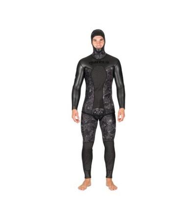Veste de combinaison Merge 50 en néoprène refendu 5mm camouflage noir Mares Pure Instinct pour la chasse sous-marine & l'apnée