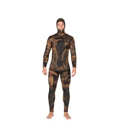 Veste de combinaison Mares Pure Instinct Squadra camouflage Illusion Marron en néoprène 5mm pour chasse sous-marine et l'apnée
