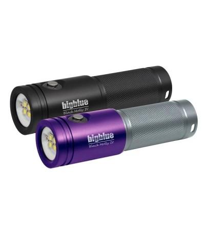 Lampe de plongée à LED bigblue AL1800XWP II tri color pour l'exploration et la photo/vidéo sous-marine - violet/gris