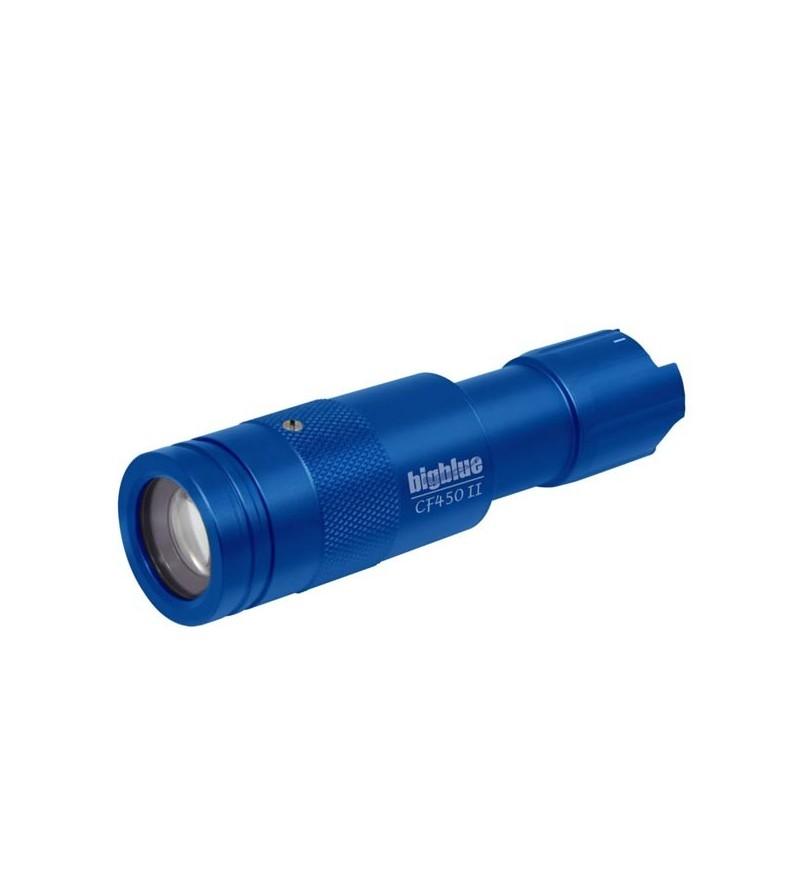 Lampe de plongée à LED bigblue CF450 II à piles pour l'exploration - faisceau étroit réglable - bleu
