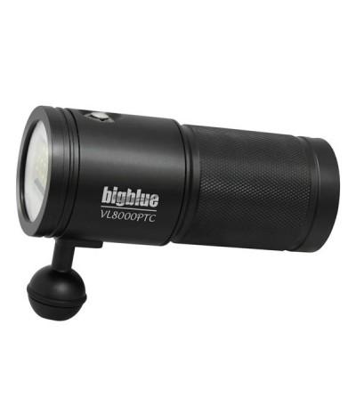 Phare de plongée à LED bigblue VL8000P TC 8000 lumens pour l'exploration et la photo/vidéo sous-marine - faisceau large 120°