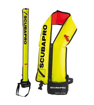 Bouée de signalisation Scubapro jaune pour signalisation de surface ou gilet de sauvetage et d'aide à la nage pour le snorkeling