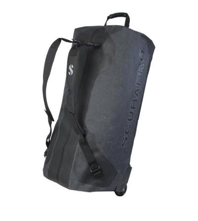 Grand sac étanche à roulettes Scubapro Dry Bag de 120 litres en nylon noir 500D recouvert de TPU, utilisable comme sac à dos