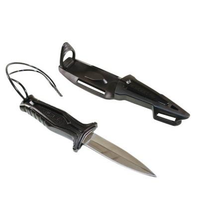 Petit couteau maniable de chasse sous-marine Beuchat Taz avec lame inox type dague de 90mm à simple tranchant