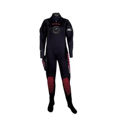 Combinaison étanche vêtement sec avec bottes d'entrée de gamme Aqua Lung Blizzard en néoprène compressé 4mm pour femme