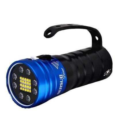 Phare de plongée à LED Bersub Focus 8/16 à accu rechargeable Lithium-ion pour la photo, la vidéo et l'exploration - bleu