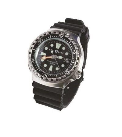 Montre de plongée professionnelle Aqua Lung étanche à 500 mètres avec bracelet caoutchouc, virole tournante