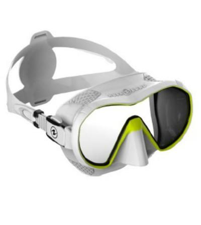 Masque monoverre panoramique sans cerclage Aqua Lung Plazma avec système de stabilisation ExoHex blanc/jaune