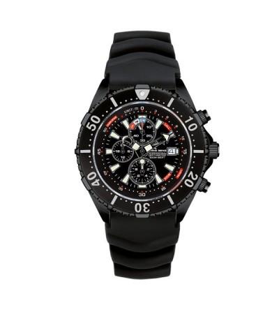 Montre DEPTHMETER Chronograph 300M noire étanche à 300 m avec profondimètre analogique 50m pour la plongée et l'apnée