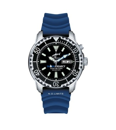 Montre Chris Benz DEEP 1000M étanche à 1000 m avec valve hélium - Série spéciale Shark Project en faveur du Requin-Hâ