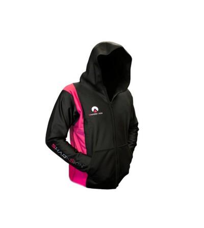 Shark Skin - Veste outdoor noire et rose femme Chillproof avec capuche
