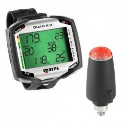 Ordinateur de poignet Mares Quad noir pour la plongée en eau douce ou salée à l'air, nitrox ou multigaz + transmetteur sans fil