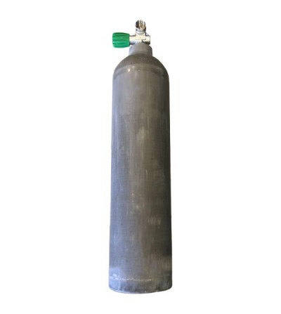 Bouteille de plongée MES avec fût Aluminium 7 litres 200 bars avec robinet 1 sortie Nitrox/O2, idéal bloc déco