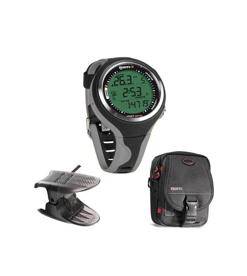 Pack comprenant 1 montre ordinateur Mares Pure Instinct Smart Apnea de chasse sous-marine & apnée, 1 sacoche & 1 interface usb