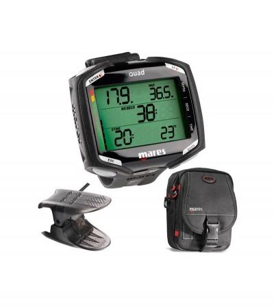 Pack comprenant un ordinateur de poignet Mares Quad pour la plongée, une interface usb Dive Link et une sacoche Cruise Driver