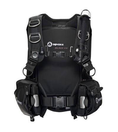 Gilet Stabilisateur de plongée TEK Apeks Black Ice à flotabilité dorsale - Solide, confortable et stable