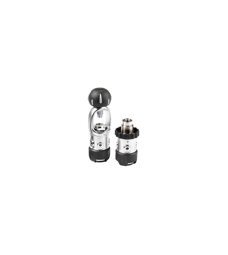 Premier étage non compensé de détendeur de plongée Mares 2S DIN 300 bar à piston aval. Simple et facile à entretenir