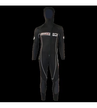 Combinaison humide homme de plongée monopièce Beuchat Focea First en néoprène 6.5mm avec cagoule attenante pour usage intensif