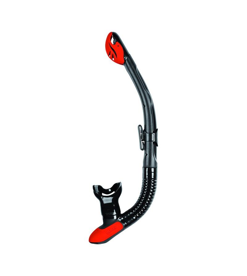 Tuba à soupape Mares Ergo Dry avec tube annelé en silicone pour la plongée et le snorkeling - Noir / Rouge