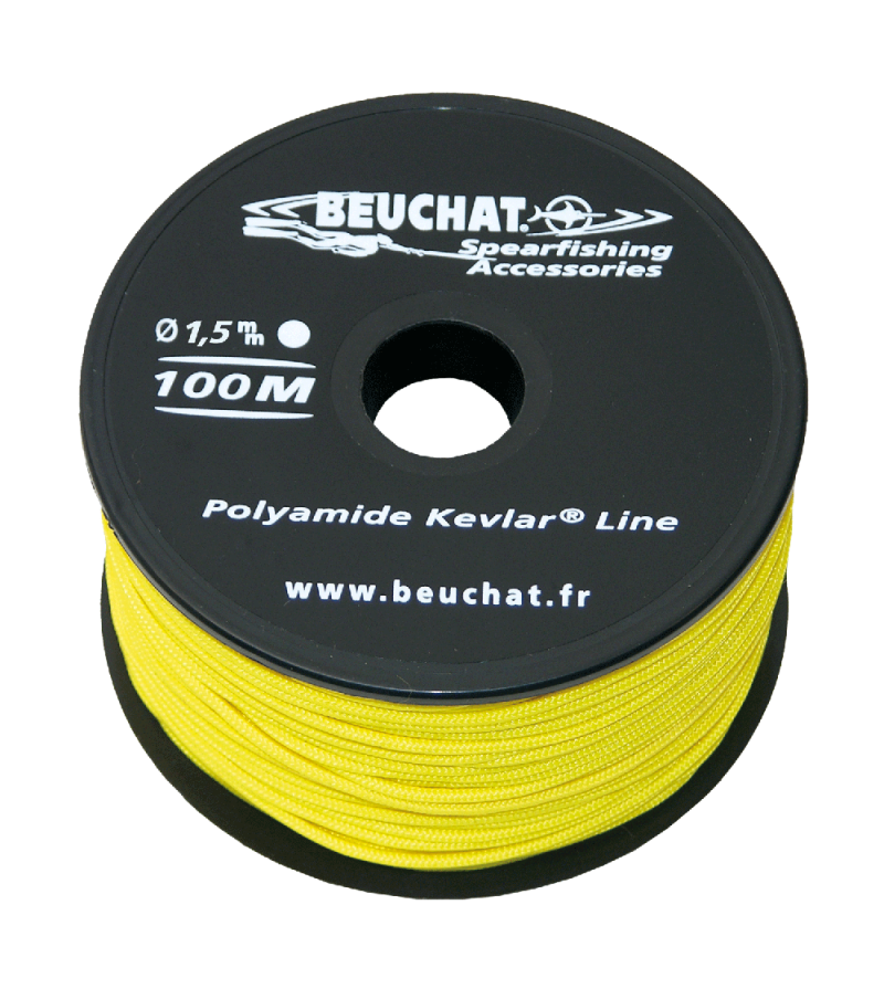 Bobine 50 mètres de fil jaune pour moulinet et arbalète de Chasse sous-marine Beuchat Nylon Kevlar Diamètre 1.5mm