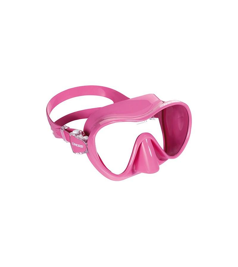Masque monoverre Cressi F1 sans cerclage et jupe en silicone pour la plongée et le snorkeling. Couleurs voyantes & look fun