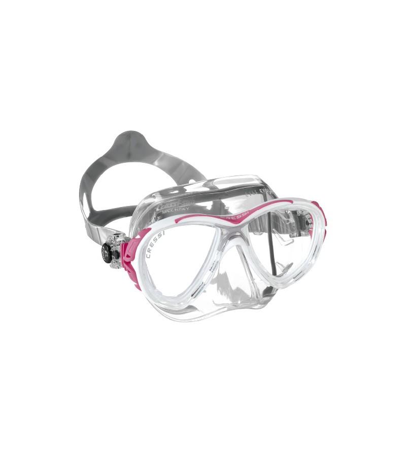 Masque Cressi Eyes Evolution Crystal avec jupe en silicone transparent exclusif. En Jaune, bleu, rose, lilas, noir & rouge